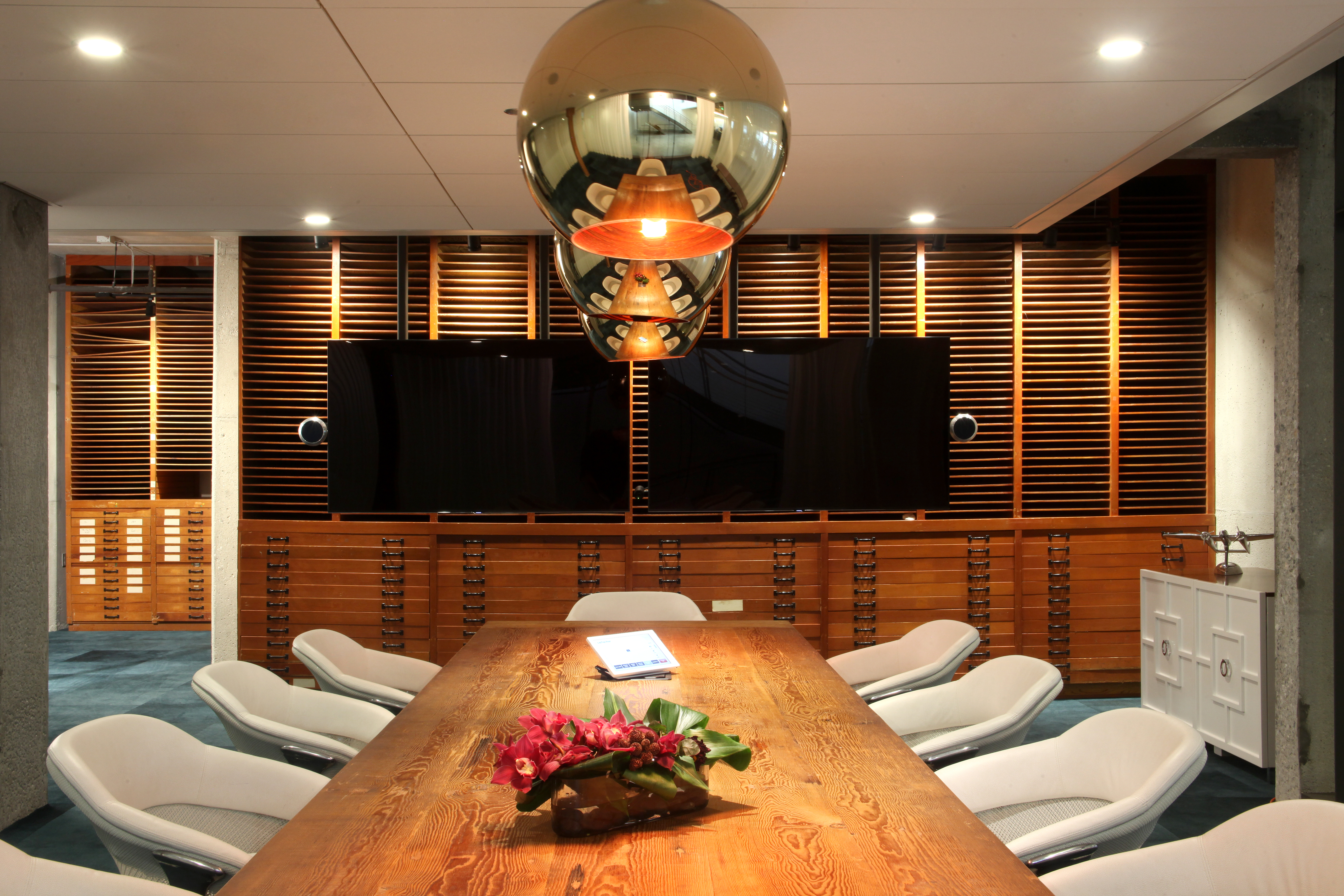 Howard Hughes' former office was restored to its original glory and is now used as a meeting space at 72 and Sunny.