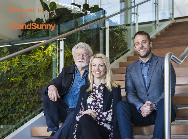 Your hosts for the THE Party (left to right) Jay Griffith, Design Series founder and co-chair, Amie Steir and Matt Jarvis, 72andSunny.  Photo credit: Jack Prichett