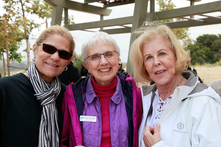 VDS  volunteer leads Lynn Southerland (left) and Susan Moore, celebrate lunch with VCH chair Marie Kennedy.  Photo by Jack Prichett