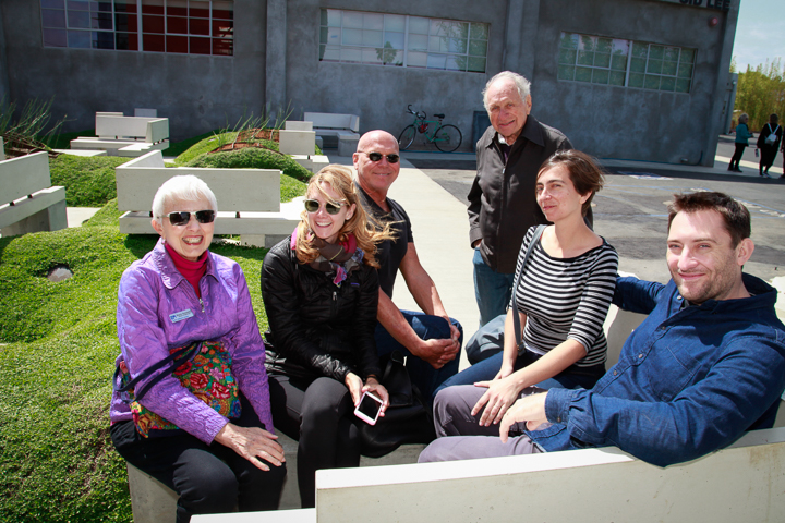Marie Kennedy, VCH board chair, enjoys the Vespertine garden with tour-goers.  Photo by Jack Prichett