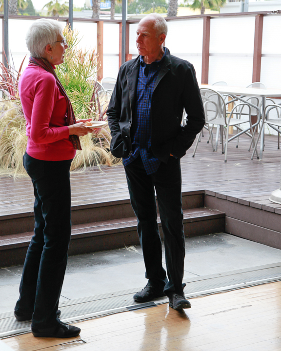 Host Steven Ehrlich chats with VCH board president Marie Kennedy. Photo by Jack Prichett