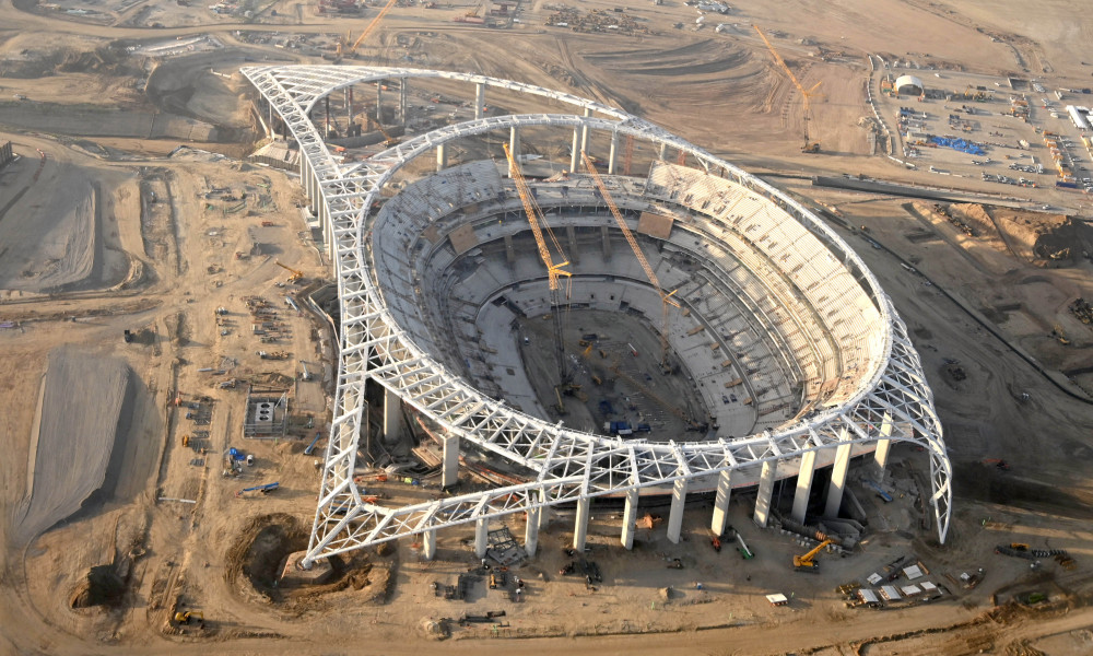 An image of Sofi stadium under construction in Los Angeles